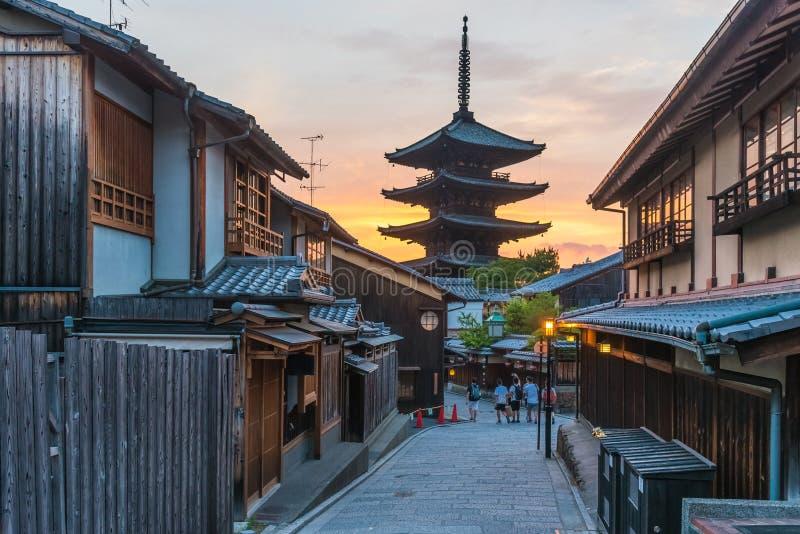 Yasaka pagoda na Sannen Zaka ulicie, Kyoto, Japonia fotografia stock