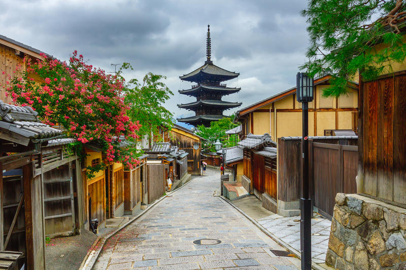Yasaka Pagoda and Sannen Zaka Street in the Morning, Kyoto, Japan royalty free stock image