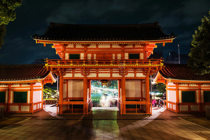 Yasakaheiligdom met Gion-straat, Kyoto royalty-vrije stock foto's