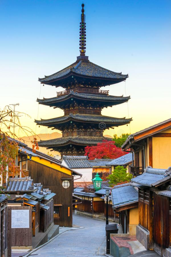 Yasakapagode met zonsopgang in Kyoto, Japan royalty-vrije stock foto's