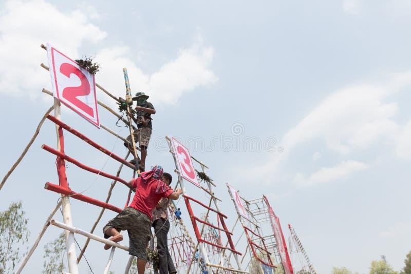 YASOTHORN, THAI-MAY 15 :火箭准备好起飞被做在Fe 库存图片