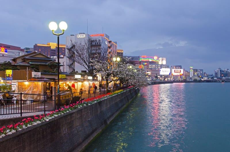 Yatai stalls av Fukuoka, Japan royaltyfri fotografi
