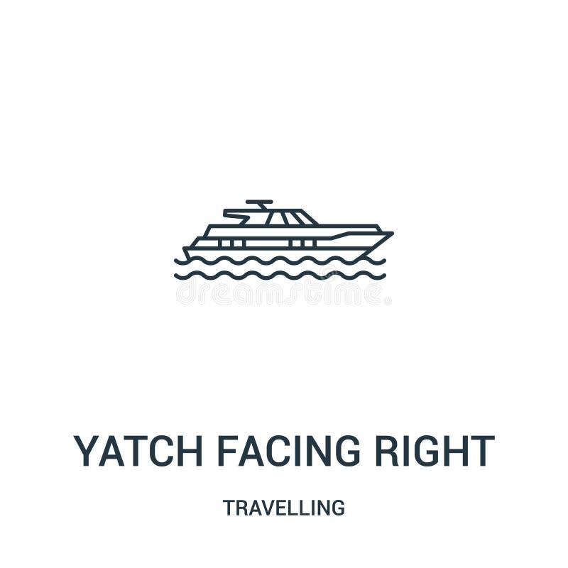 yatch faisant face au bon vecteur d'icône de la collection de déplacement Ligne mince yatch faisant face à la bonne illustration  illustration de vecteur