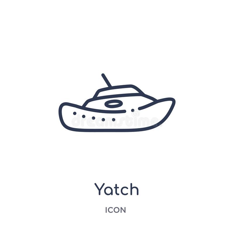 Yatch symbol från nautisk översiktssamling Tunn linje yatchsymbol som isoleras på vit bakgrund vektor illustrationer