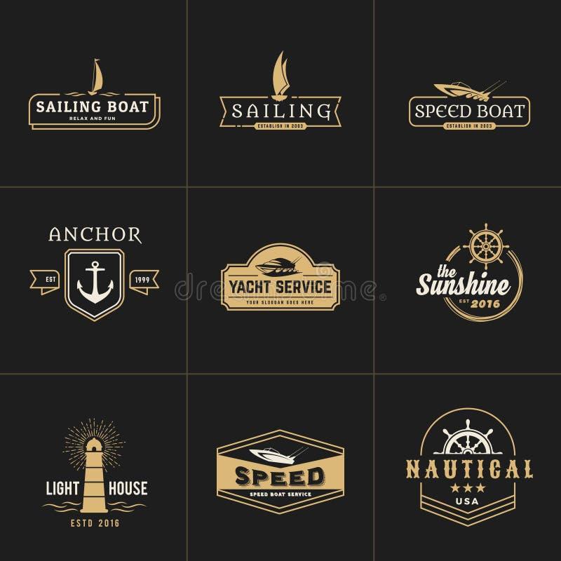 Yatching y plantilla del logotipo del vintage de la navegación stock de ilustración