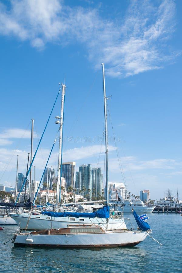 Yatchs privados en la bahía de San Diego fotografía de archivo libre de regalías