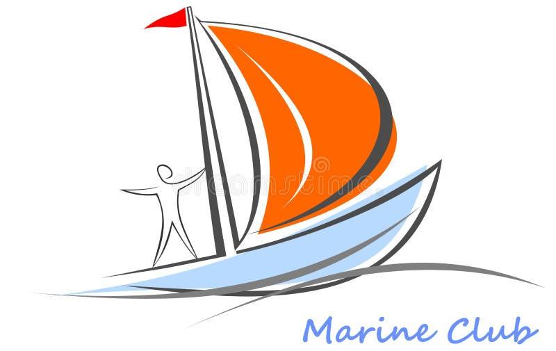 Yate, barco de vela con un marinero a bordo. ilustración del vector