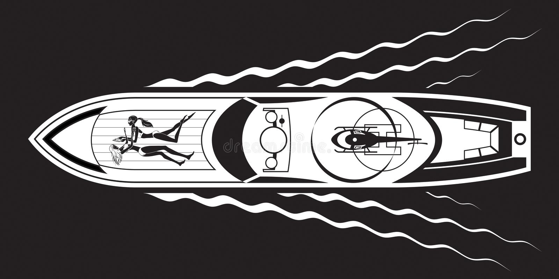 Yate con los modelos y el helicóptero de moda libre illustration