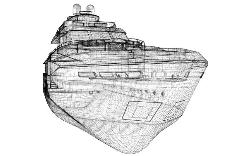 Yate de lujo del motor stock de ilustración