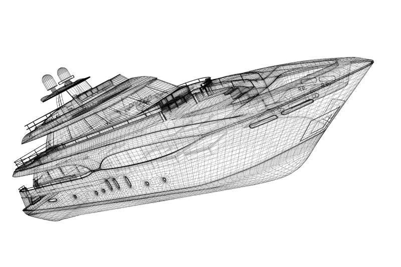 Yate de lujo del motor ilustración del vector