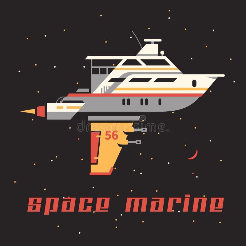 Yate del espacio ilustración del vector