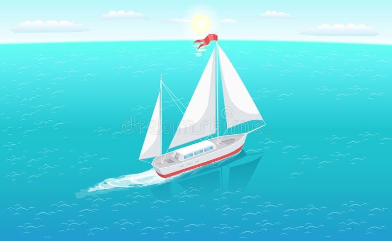 Yate moderno Marine Nautical Personal Ship Icon libre illustration