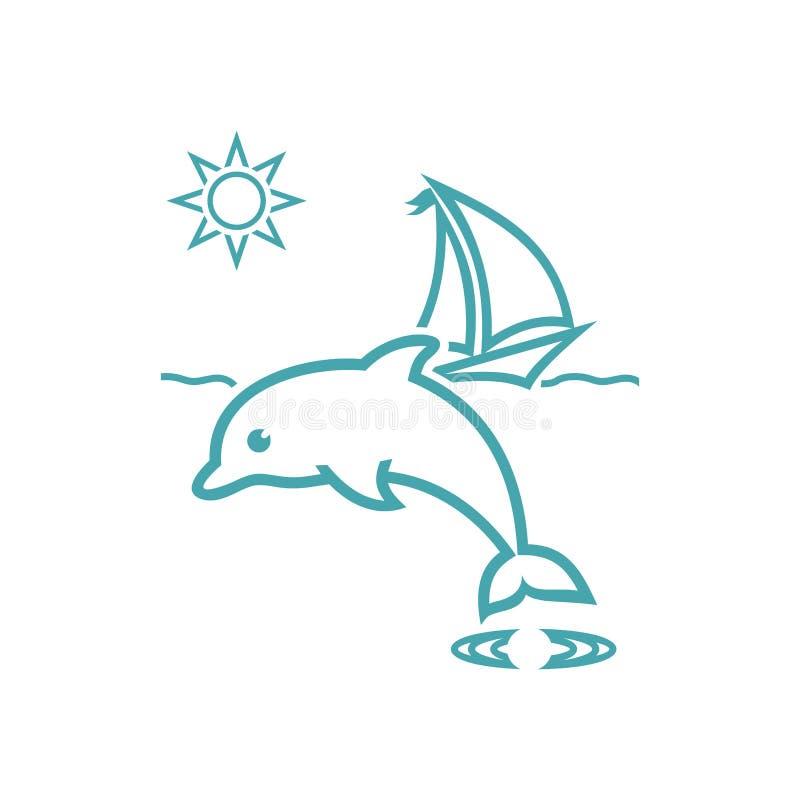 Yate, ondas, sol y delfín del ejemplo del vector ilustración del vector