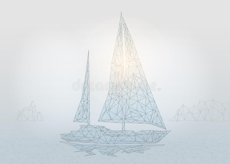 Yate poligonal de la navegación ilustración del vector