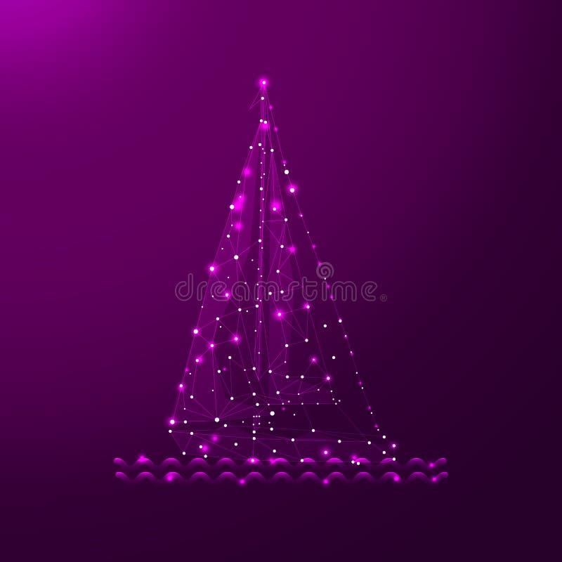 Yate poligonal de la navegación Dots And Lines de conexión Esferas de la malla del velero Línea fina concepto Color púrpura del r stock de ilustración