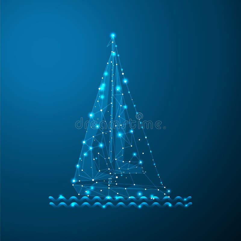 Yate poligonal de la navegación Dots And Lines de conexión Esferas de la malla del velero Línea fina concepto Fondo azul del colo ilustración del vector