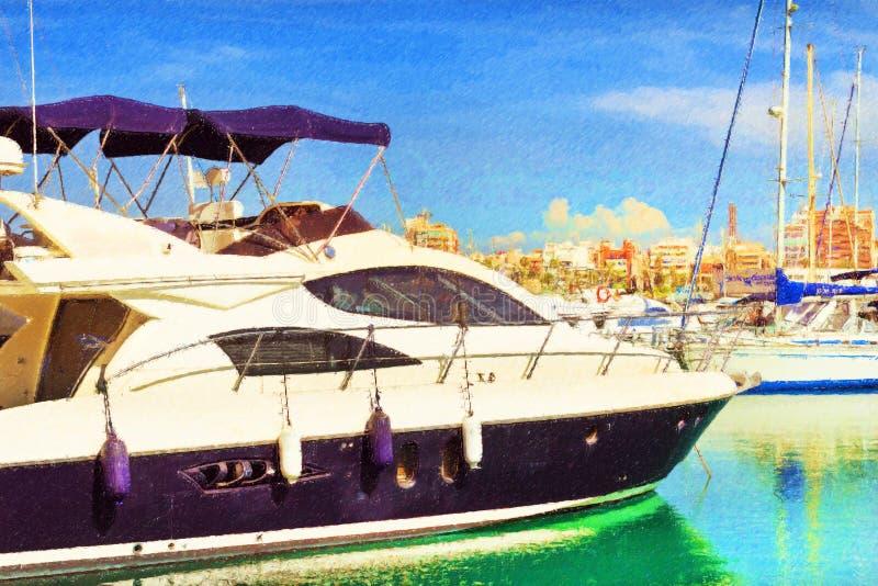 Yates y barcos en Torrevieja, España stock de ilustración