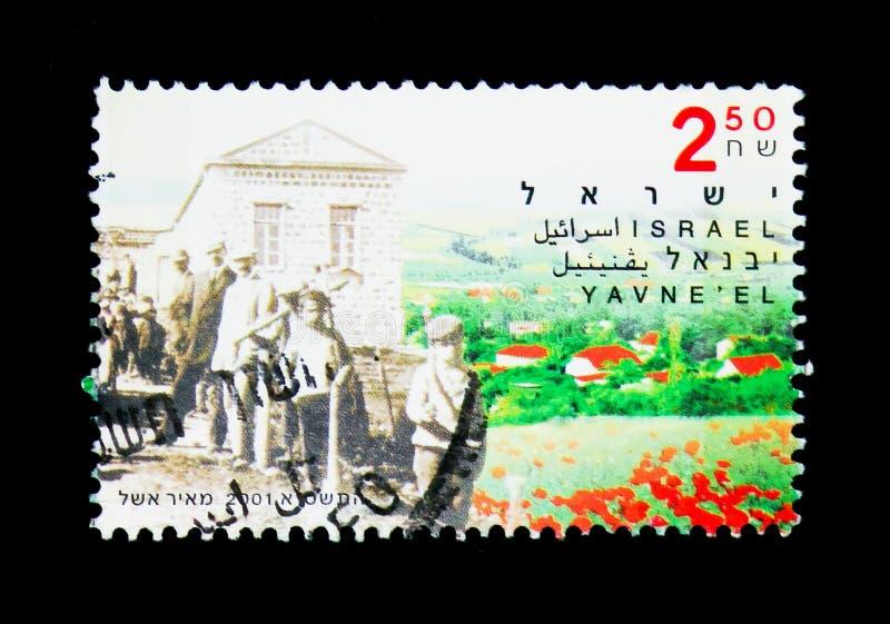 Yavne'el, centenaire de serie de Yavne'el, de Kfar Tavor et de Menahamiya, photos libres de droits