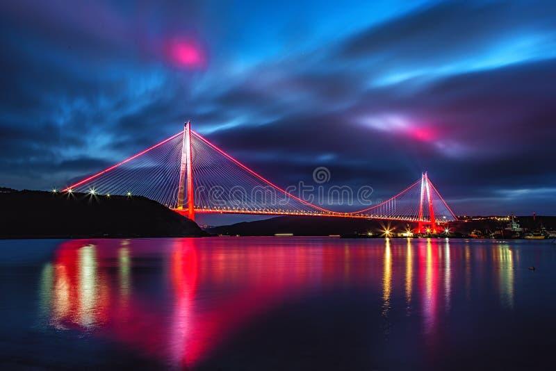 Yavuz Sultan Selim Bridge in Istanbul, Turkey. In evening illumination. 3rd Bosphorus Bridge night view royalty free stock photography