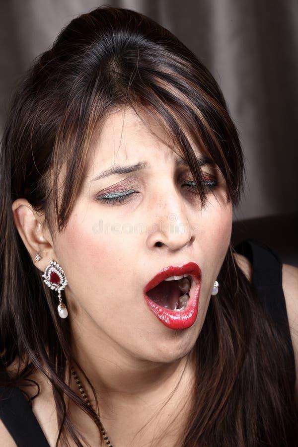 Yawning stock image