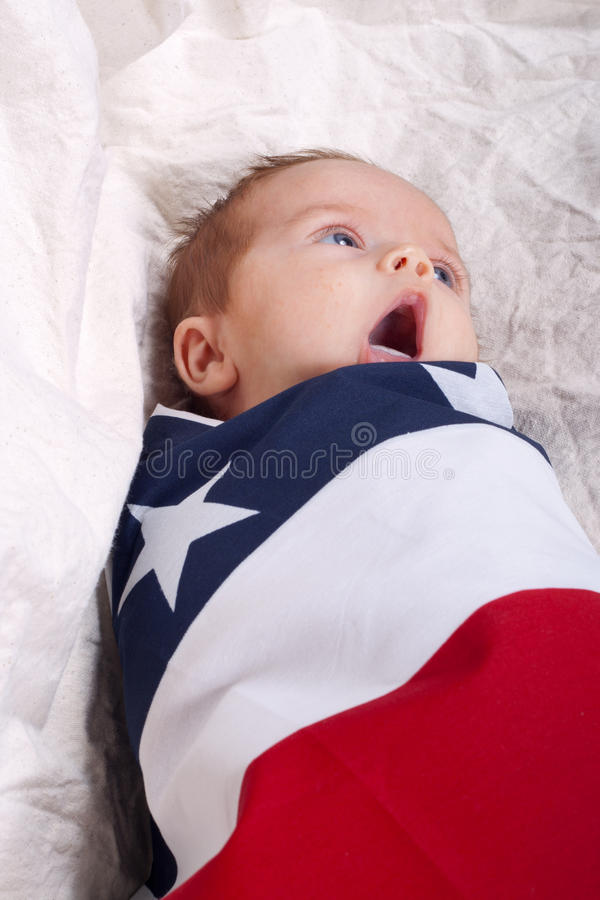 Yawning 4th of July Baby stock photos