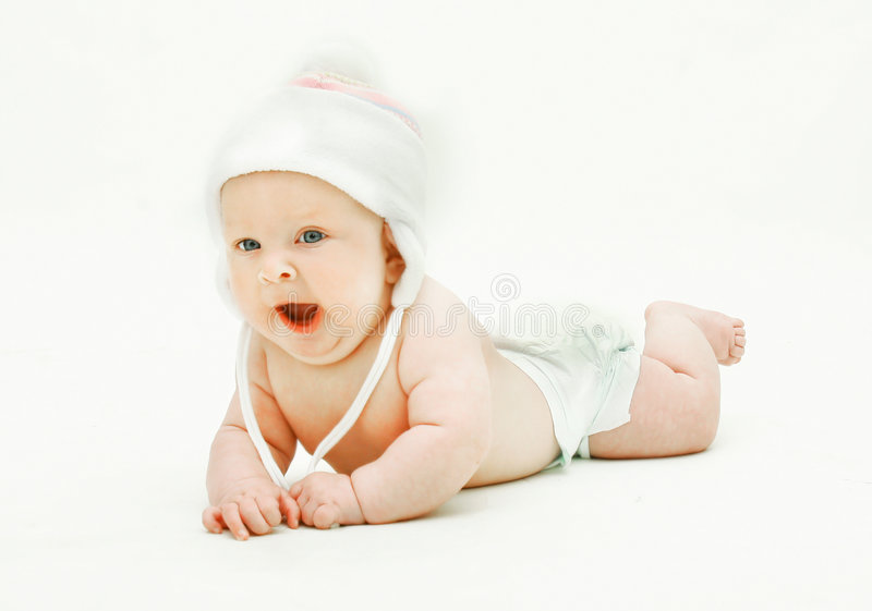 Download Yawning baby in hat stock photo. Image of daughter, person - 9100938
