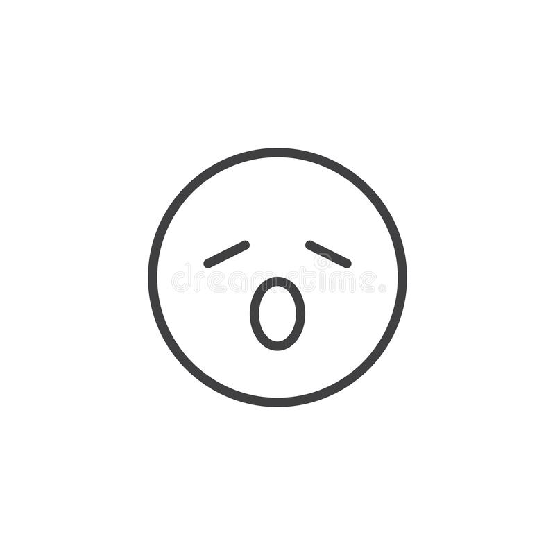 Yawning face emoji line icon. Linear style sign for mobile concept and web design. Tired face emoticon outline vector icon. Symbol, logo illustration. Vector vector illustration