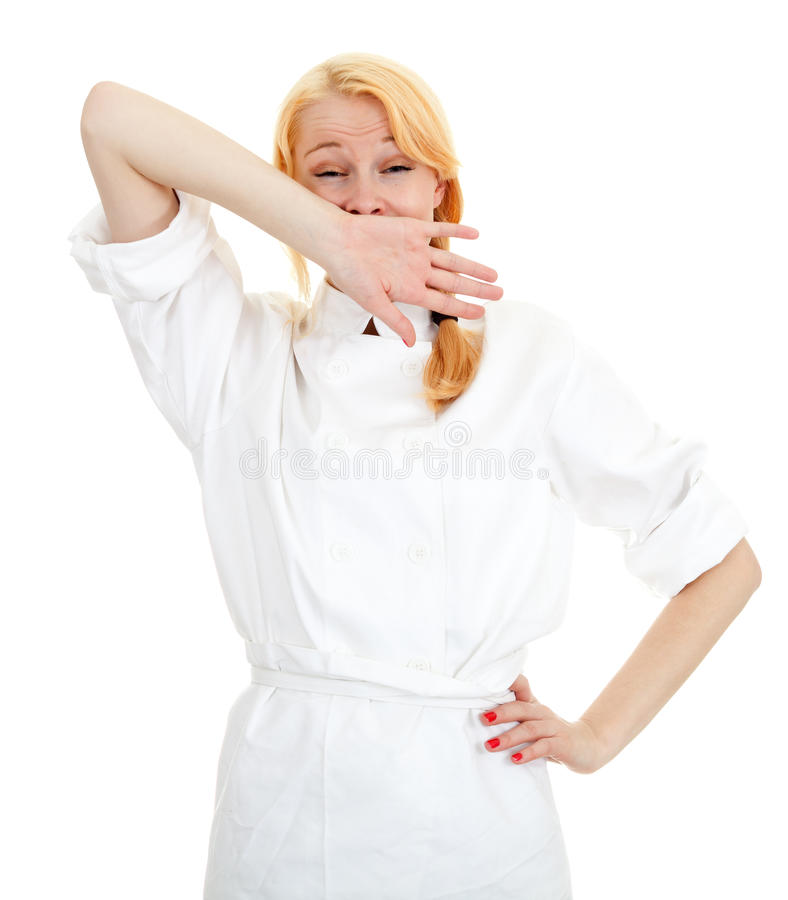 Download Yawning female cook stock image. Image of open, hair - 16506517