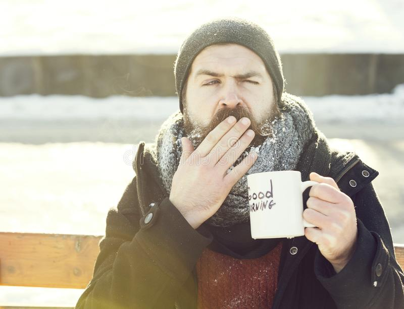 Yawning man, bearded hipster with beard and moustache covered with white frost drinks from cup with good morning text. Sitting on wooden bench on snowy winter royalty free stock photos