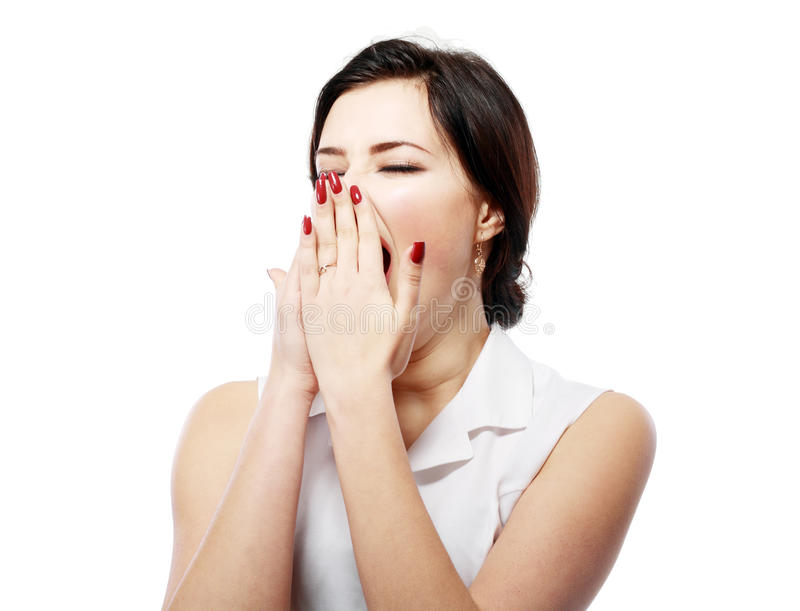 Download Yawning tired woman stock image. Image of bored, hair - 37959307