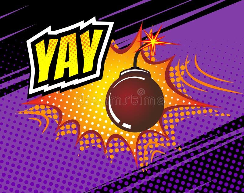 Yay 传染媒介减速火箭的可笑的讲话泡影,动画片漫画模板 书设计元素大模型  音响效果,色 库存例证