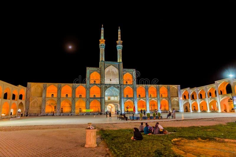 Yazd Amir Chakhmaq Complex vid natt arkivfoton