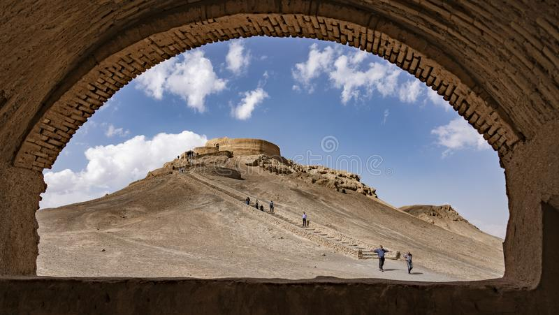 Yazd, Iran - 2019-04-11 - Stairs lead up to top of Tower of Silence where human sacrafice was once practiced as seen stock photos