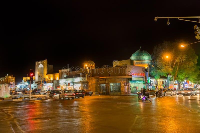 Yazd trafik vid natt royaltyfria foton