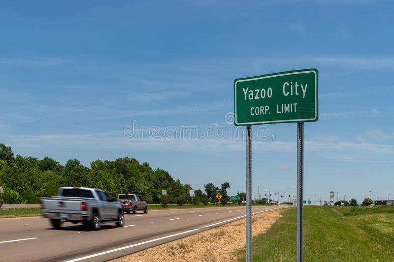 Yazoo City Corp limit sign. Gateway to the Delta. Yazoo City, MS/ USA - May 16, 2019: Yazoo City Corp limit sign. Gateway to the Delta stock images