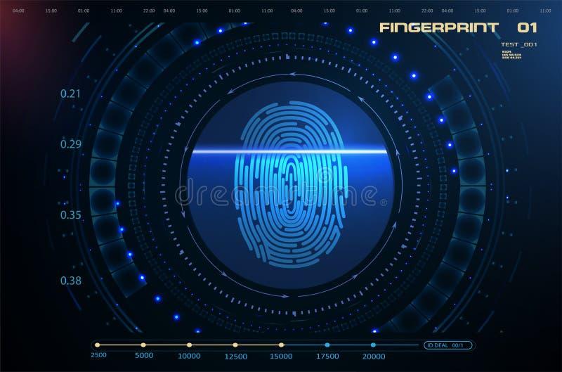 Yber安全概念 指纹扫描 皇族释放例证