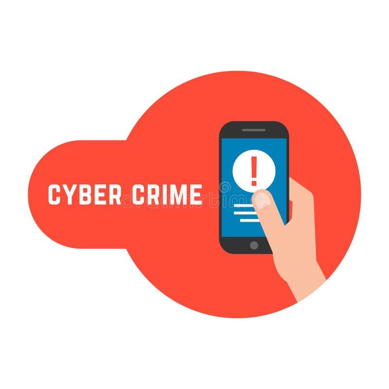 yber przestępstwo z zamkniętym telefonem w ręce royalty ilustracja
