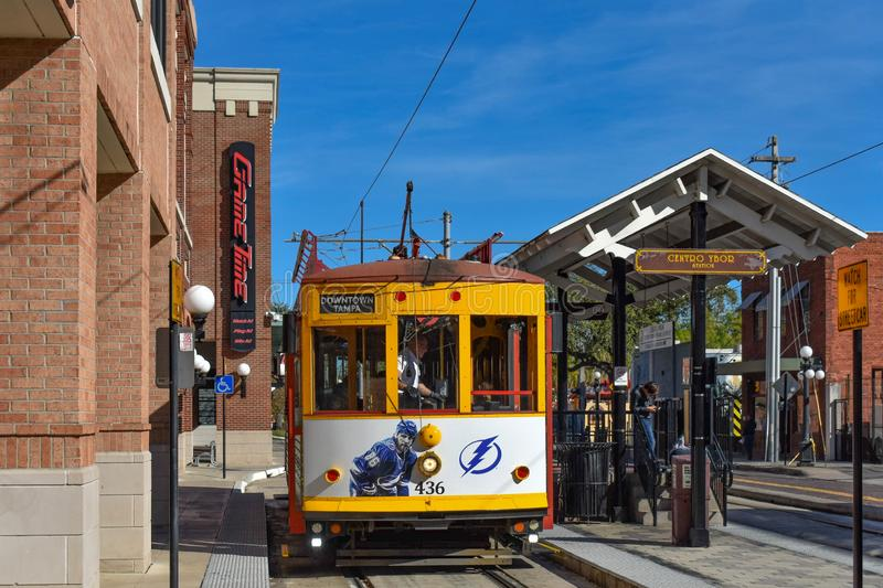 Street Car Station in 8th Ave. Ybor City is a historic neihborhood in Tampa 2 royalty free stock image