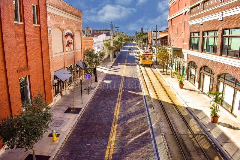 Top view of streetcar in 8th Ave. royalty free stock photos