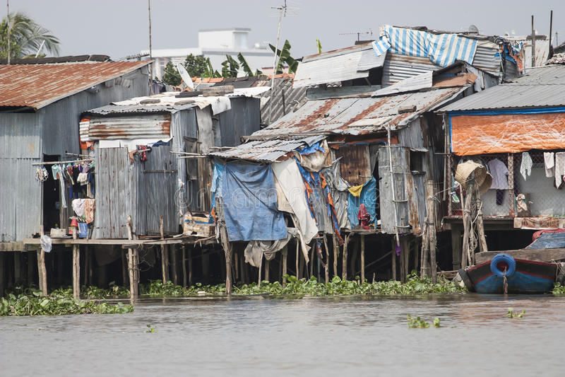 Życia w chałupie biedni ludzie Vietnam zdjęcie royalty free