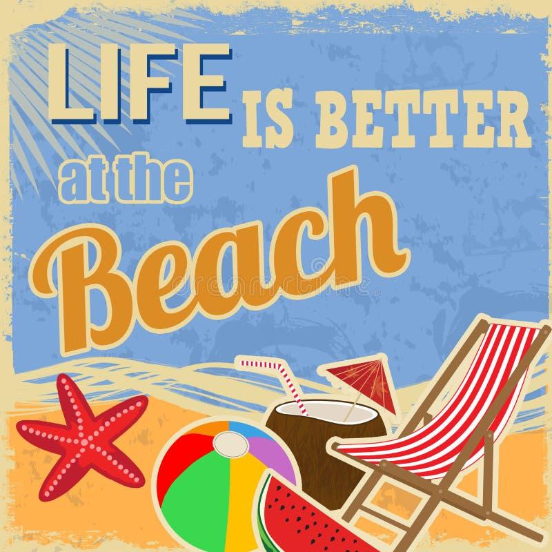 Życie jest lepszy przy plażą ilustracji