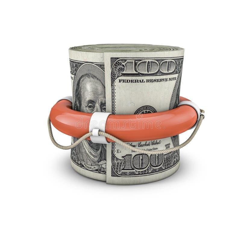Życie pierścionku pieniądze rolki dolary ilustracja wektor