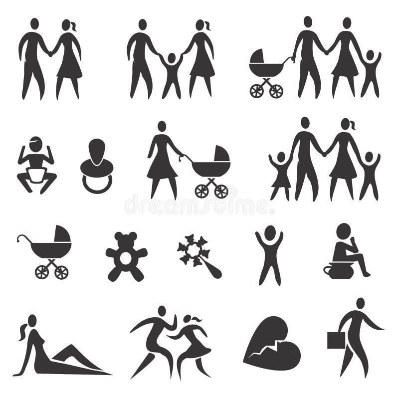 Życie rodzinne ikony royalty ilustracja