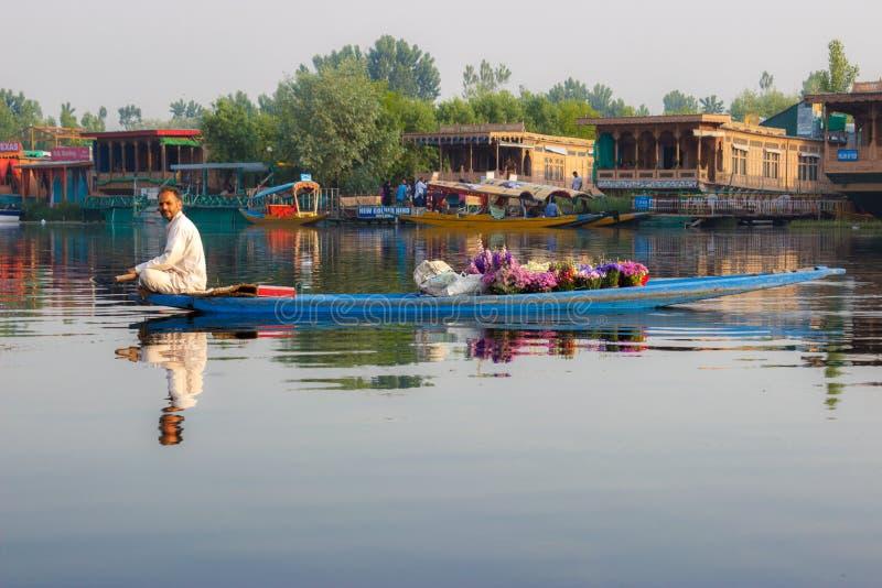 Życie w Dal jeziorze, Srinagar fotografia stock