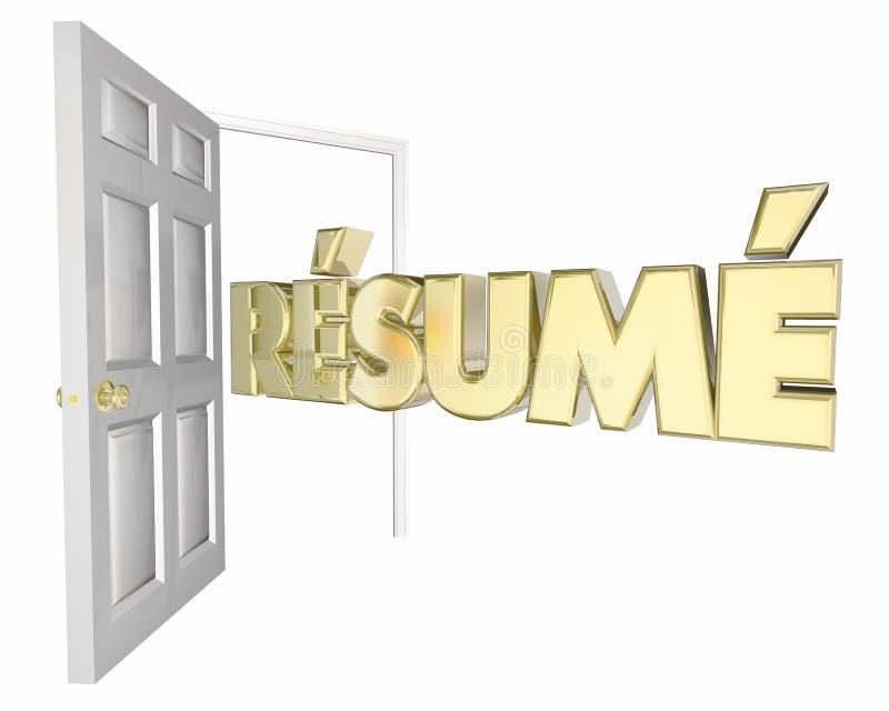 Życiorysu otwarte drzwi wywiadu możliwość pracy ilustracja wektor