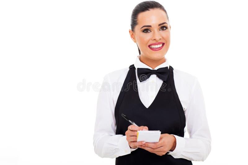 Kelnerka bierze rozkaz zdjęcia stock