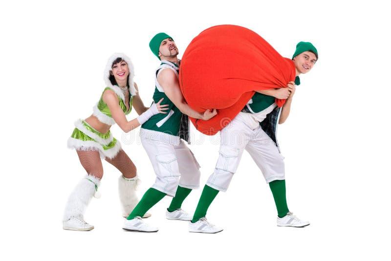 Życzliwi ludzie ubierający jak śmieszni gnomy zdjęcie royalty free