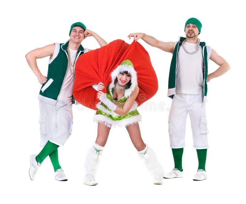 Życzliwi ludzie ubierający jak śmieszni gnomy zdjęcie stock