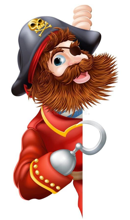 Życzliwy kreskówka pirata znak royalty ilustracja