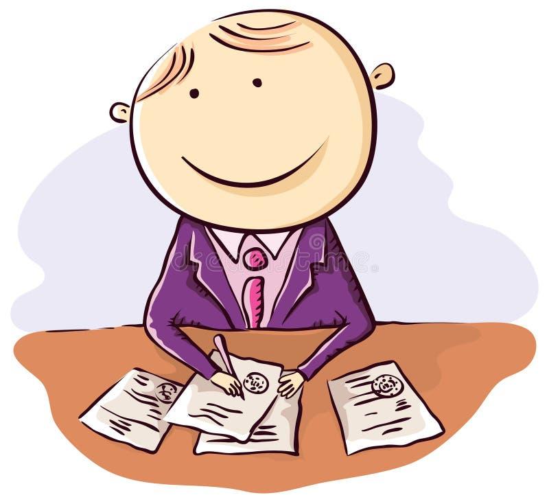 Życzliwy kreskówka urzędnik ilustracji